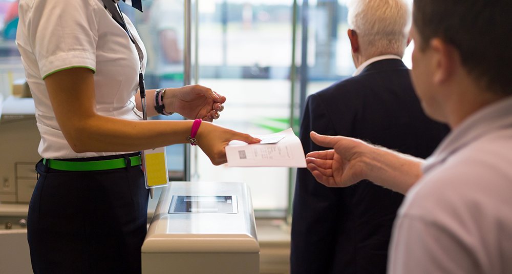 retrieving ticket at airport