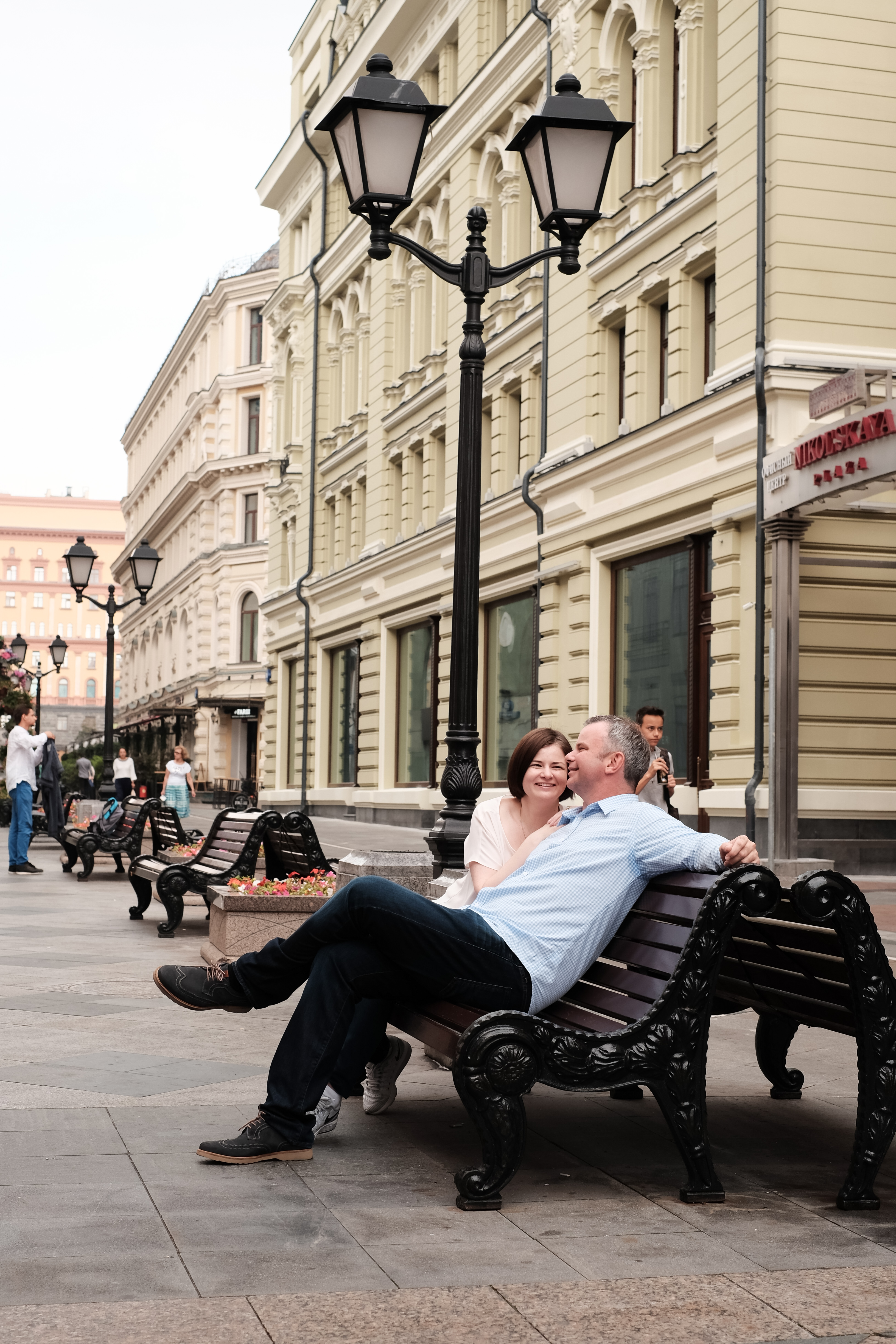 couple sitting in russia