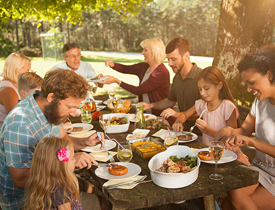 family eating outside